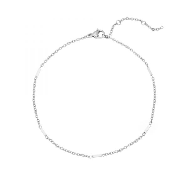 Anklet tiny bars silver