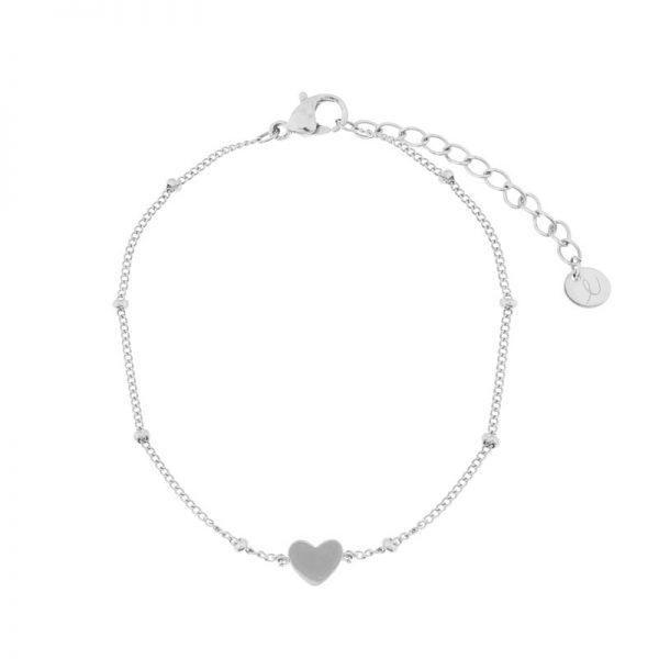 Bracelet closed heart silver