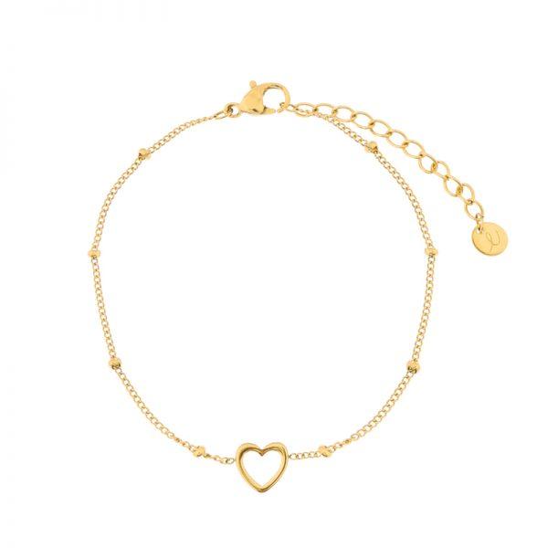 Bracelet open heart gold