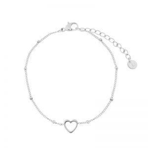 Bracelet open heart silver