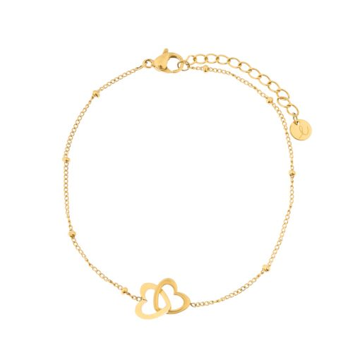 Bracelet two hearts gold