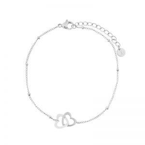 Bracelet two hearts silver