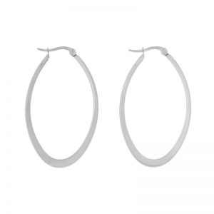 Earrings hoops oval statement large silver