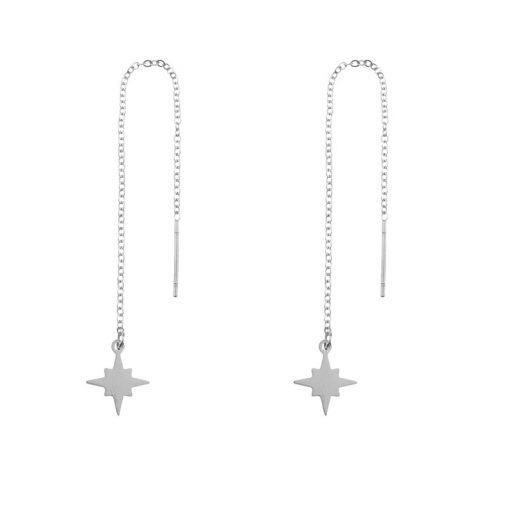 Earrings long chain Northstar silver