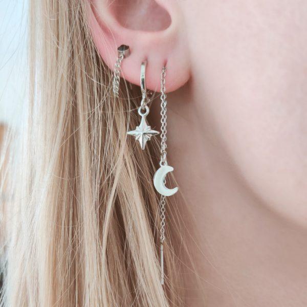 Earrings long chain moon