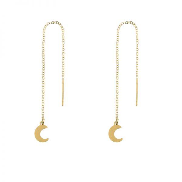 Earrings long chain moon gold