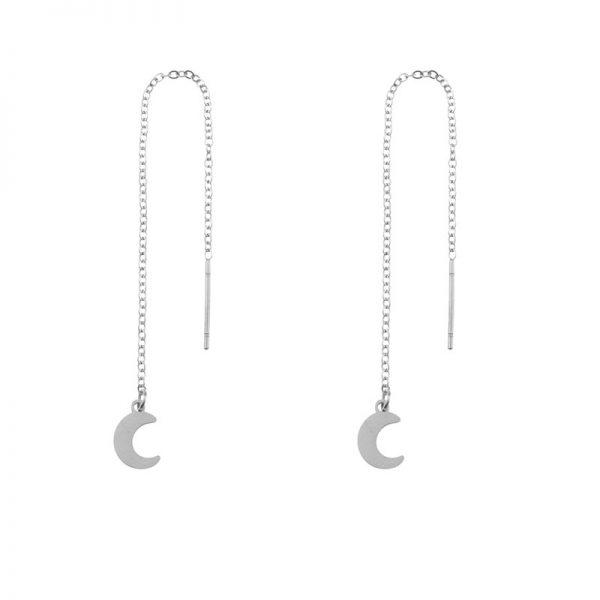 Earrings long chain moon silver