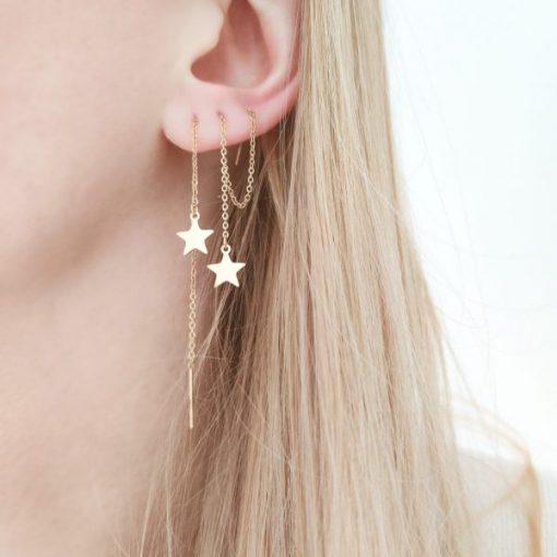 Earrings long chain star