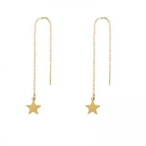 Earrings long chain star gold
