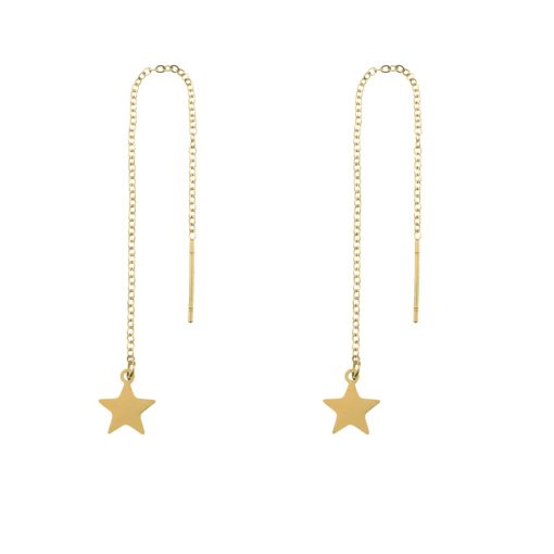 Earrings long chain star gold
