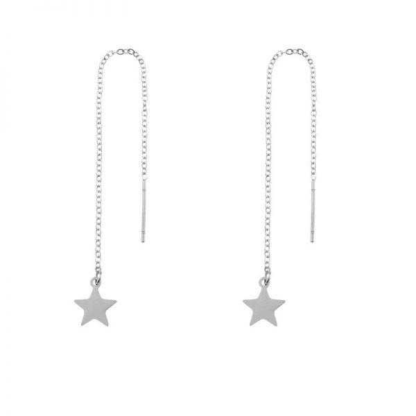 Earrings long chain star silver