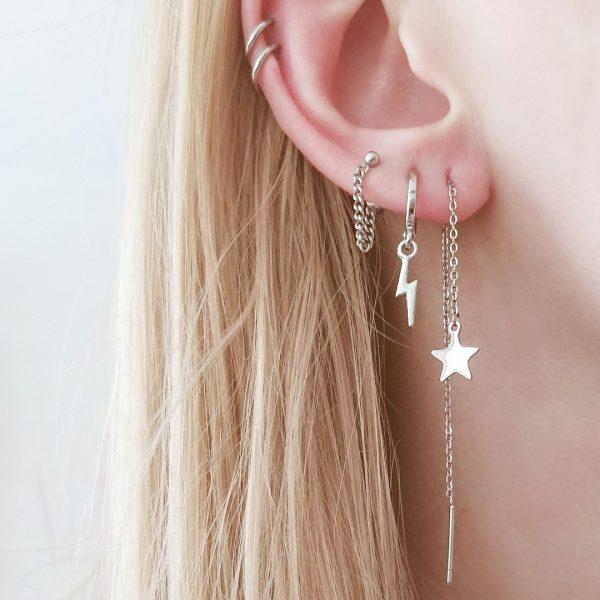 Earrings stud chain dot