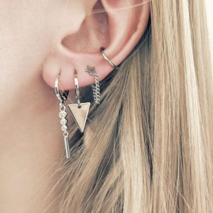 Earrings stud chain star