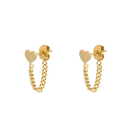 Stud earrings with chain heart gold