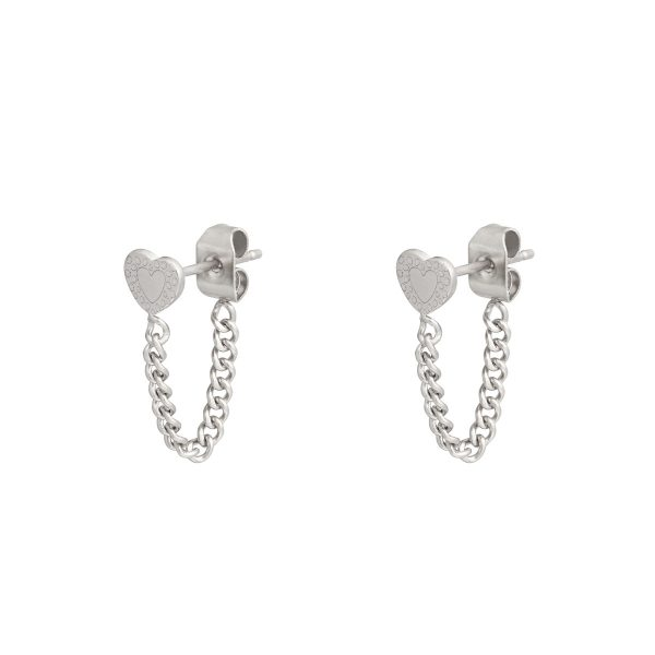 Stud earrings with chain heart silver