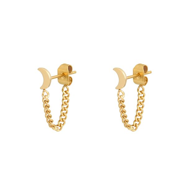 Stud earrings with chain moon gold