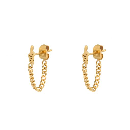 Stud earrings with chain snake gold