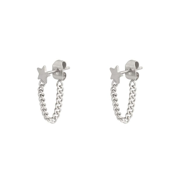 Stud earrings with chain star silver