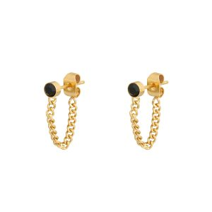 Stud earrings with chain stone gold