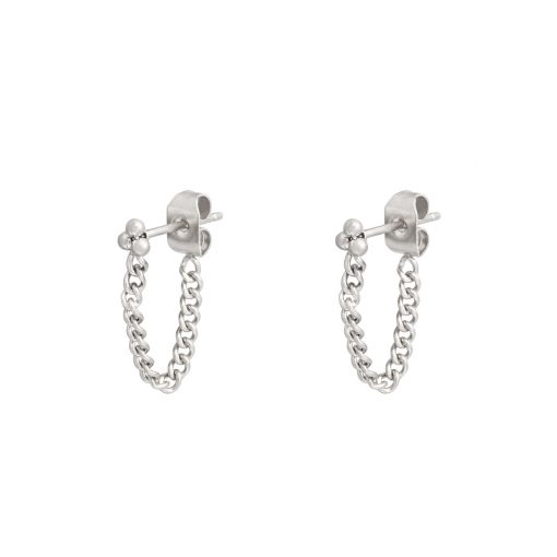 Stud earrings with chain dots silver