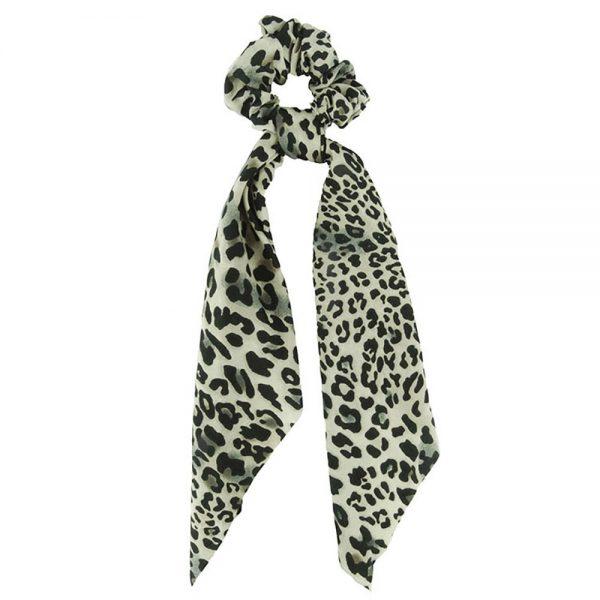 Scrunchie ribbon leopard brown