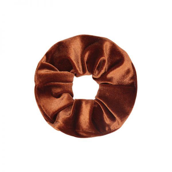 Scrunchie velvet orange-brown