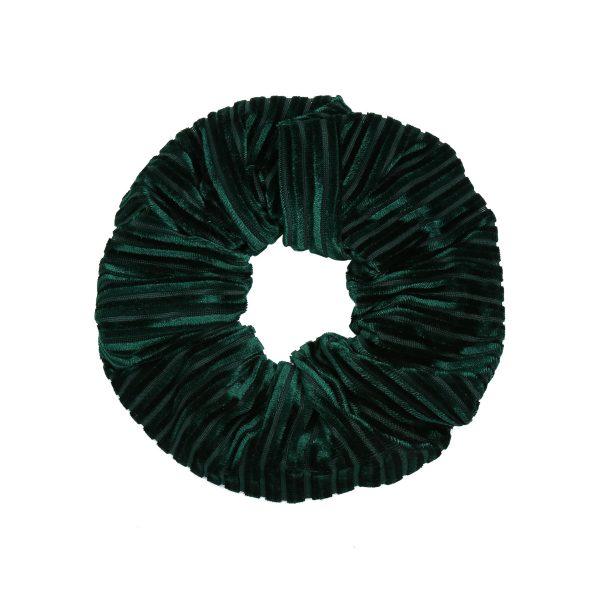 Scruncie velvet crushed dark green