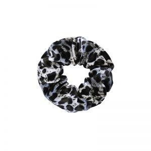 Scrunchie velvet leopard blue