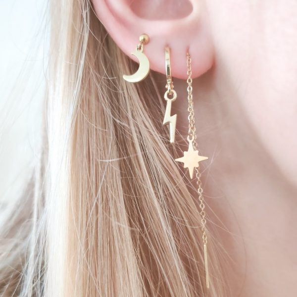Earrings stud moon
