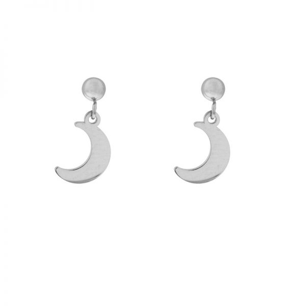 Stud earrings moon silver