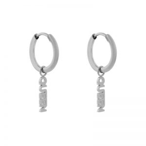 Earrings minimalistic queen silver