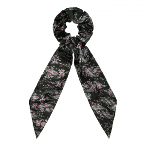Scrunchie ribbon flower black