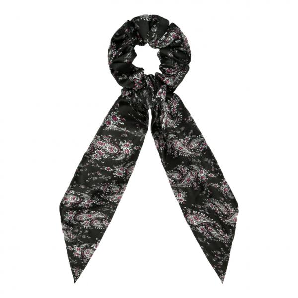 Scrunchie ribbon flower black
