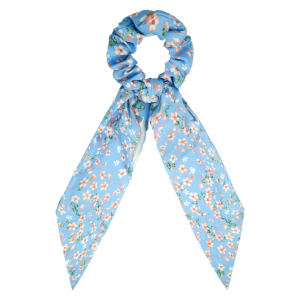 Scrunchie ribbon flower blue