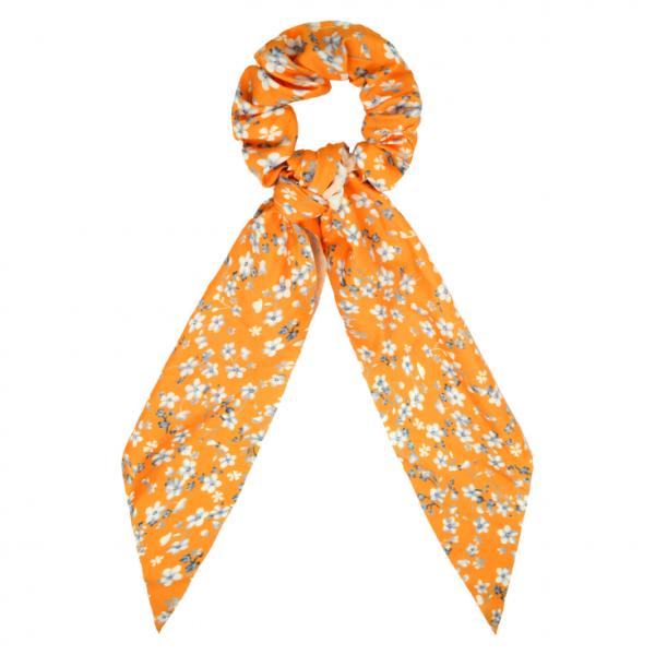 Scrunchie ribbon flower orange