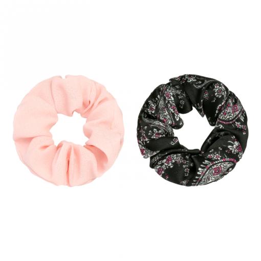 Scrunchie set flower black pink