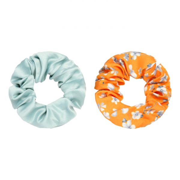 Scrunchie set flower orange blue