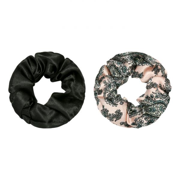 Scrunchie set flower pink black