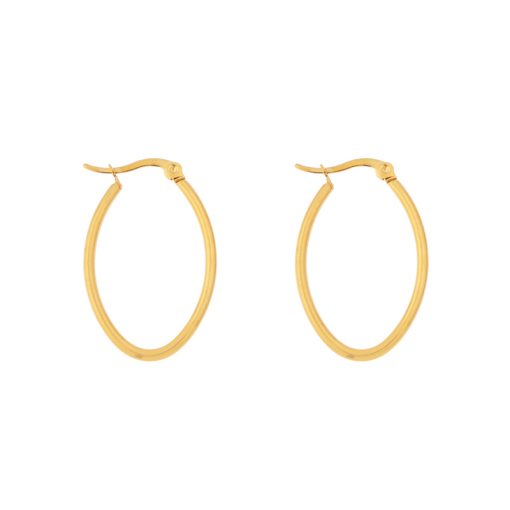 Earrings hoops oval basic small gold
