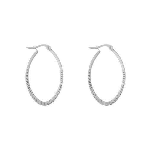 Earrings hoops oval statement small pattern silver