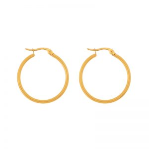 Earrings hoops round basic large gold