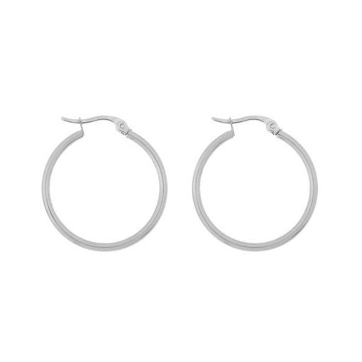Earrings hoops round basic large silver