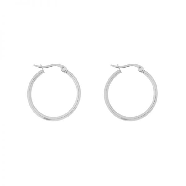 Earrings hoops round basic medium silver