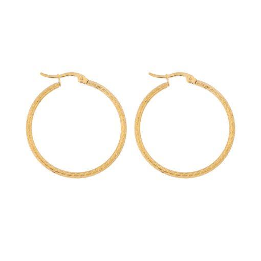 Earrings hoops round basic pattern gold