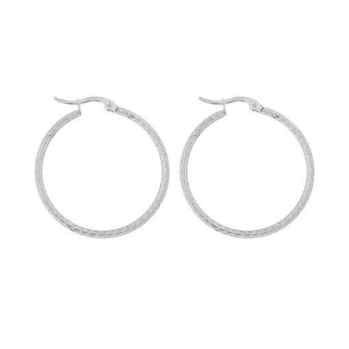 Earrings hoops round basic pattern silver
