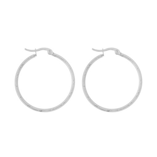 Earrings hoops round basic stripes silver