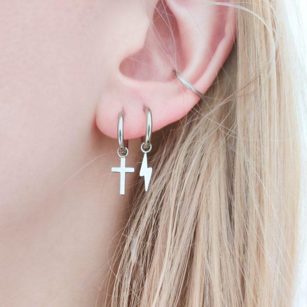 Earrings minimalistic cross