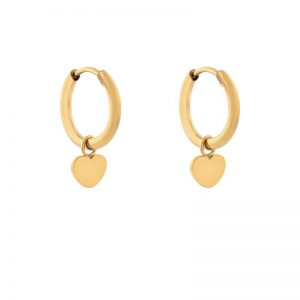 Earrings minimalistic heart gold