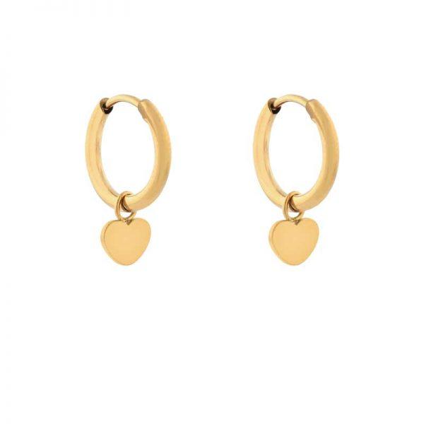Earrings minimalistic heart gold