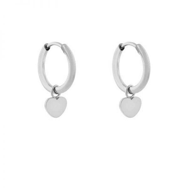 Earrings minimalistic heart silver